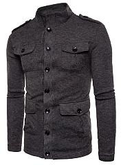 Men-High-Neck-Flap-Pocket-Single-Breasted-Plain-Coat