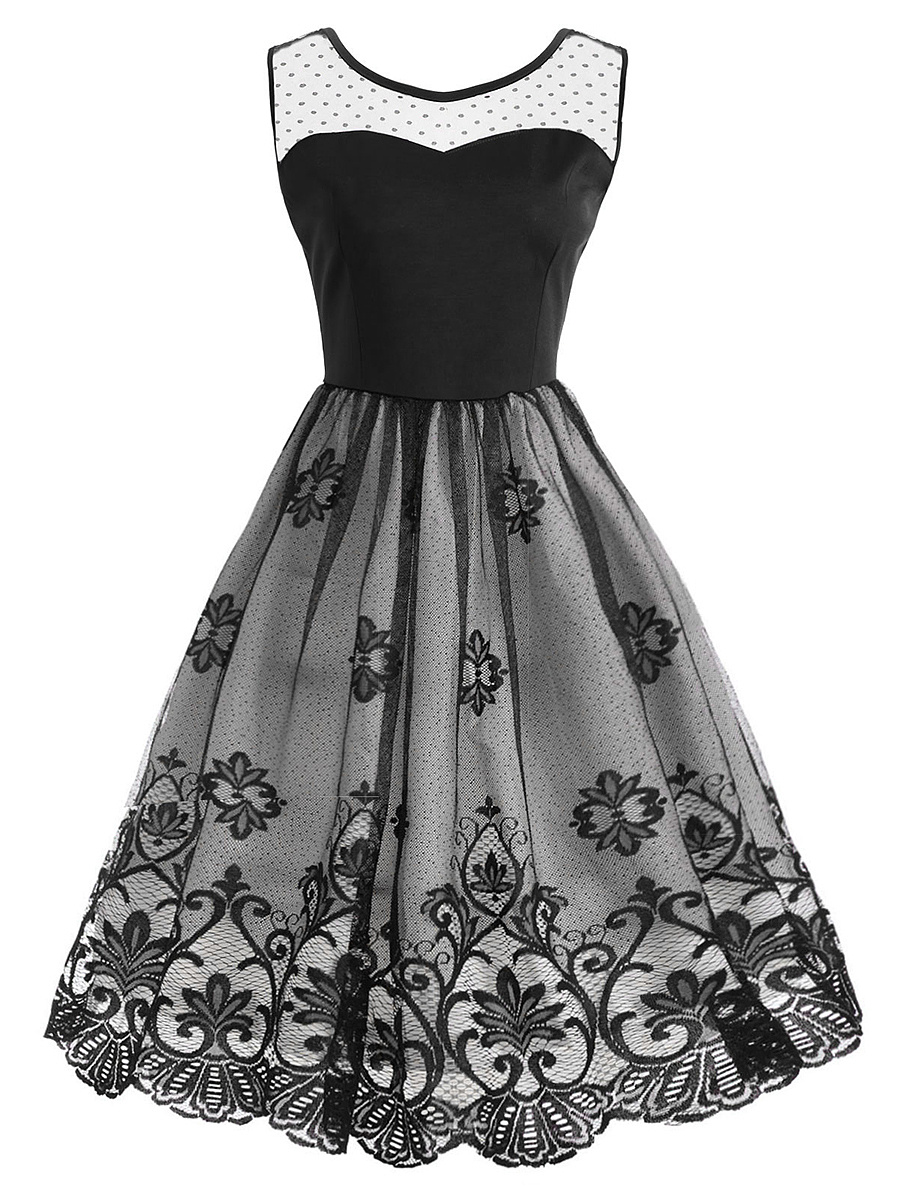 Round Neck Patchwork See-Through Summer Skater Dress