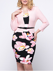 Charming Belt Floral Printed Fake Two-Piece Plus Size Bodycon Dress