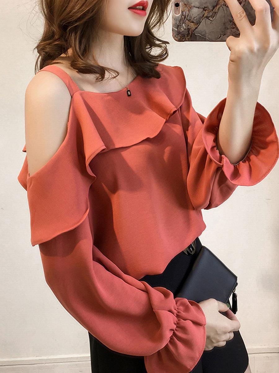 Image For Autumn Spring  Polyester  Women  Open Shoulder  Flounce  Plain  Bell Sleeve  Long Sleeve Blouses