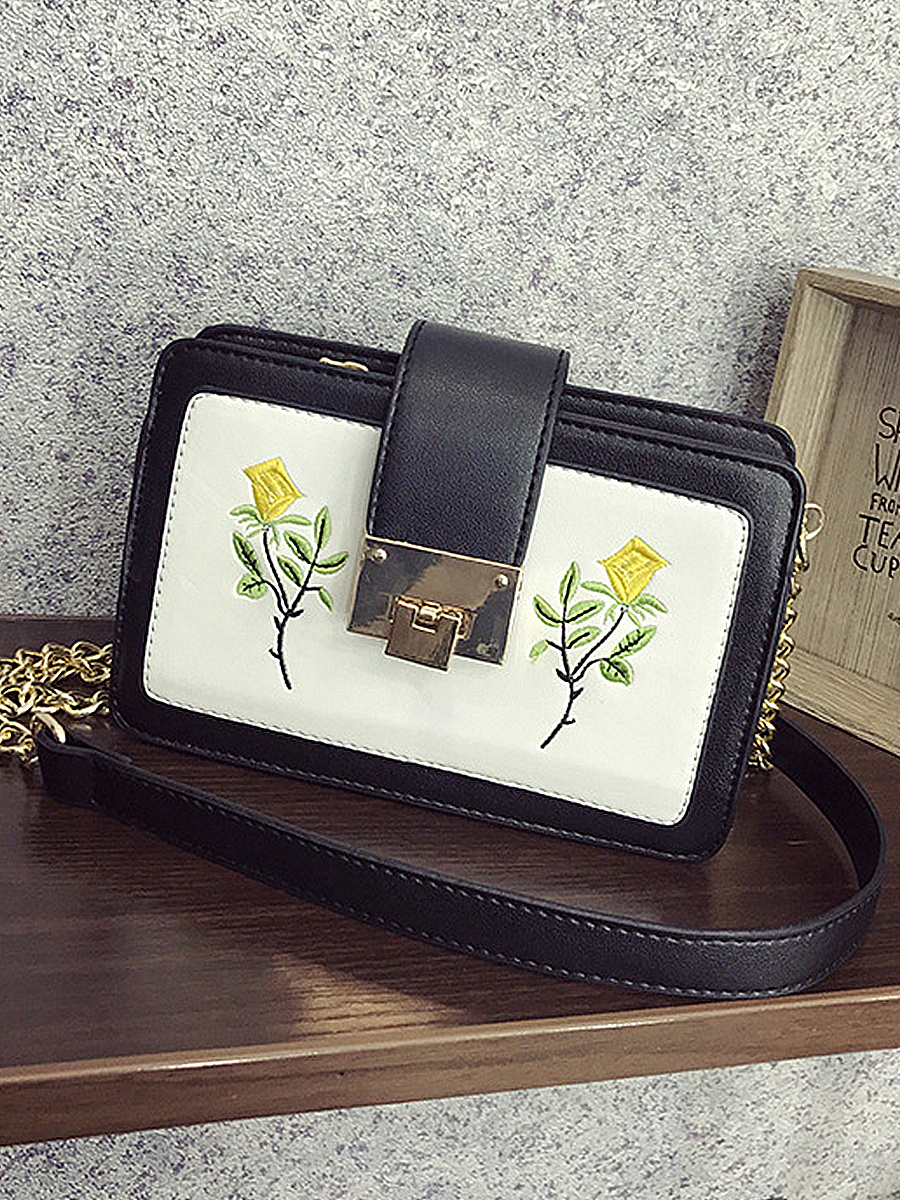 PU Embroidery Floral Shoulder Bags