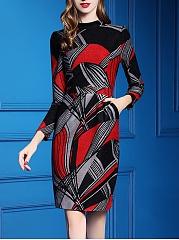 Women-Band-Collar-Printed-Bodycon-Dress