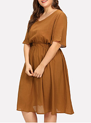 V-Neck  Elastic Waist  Plain Plus Size Midi & Maxi Dress