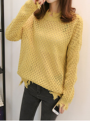 Round Neck  Tassel  Hollow Out Plain Sweaters Pullover