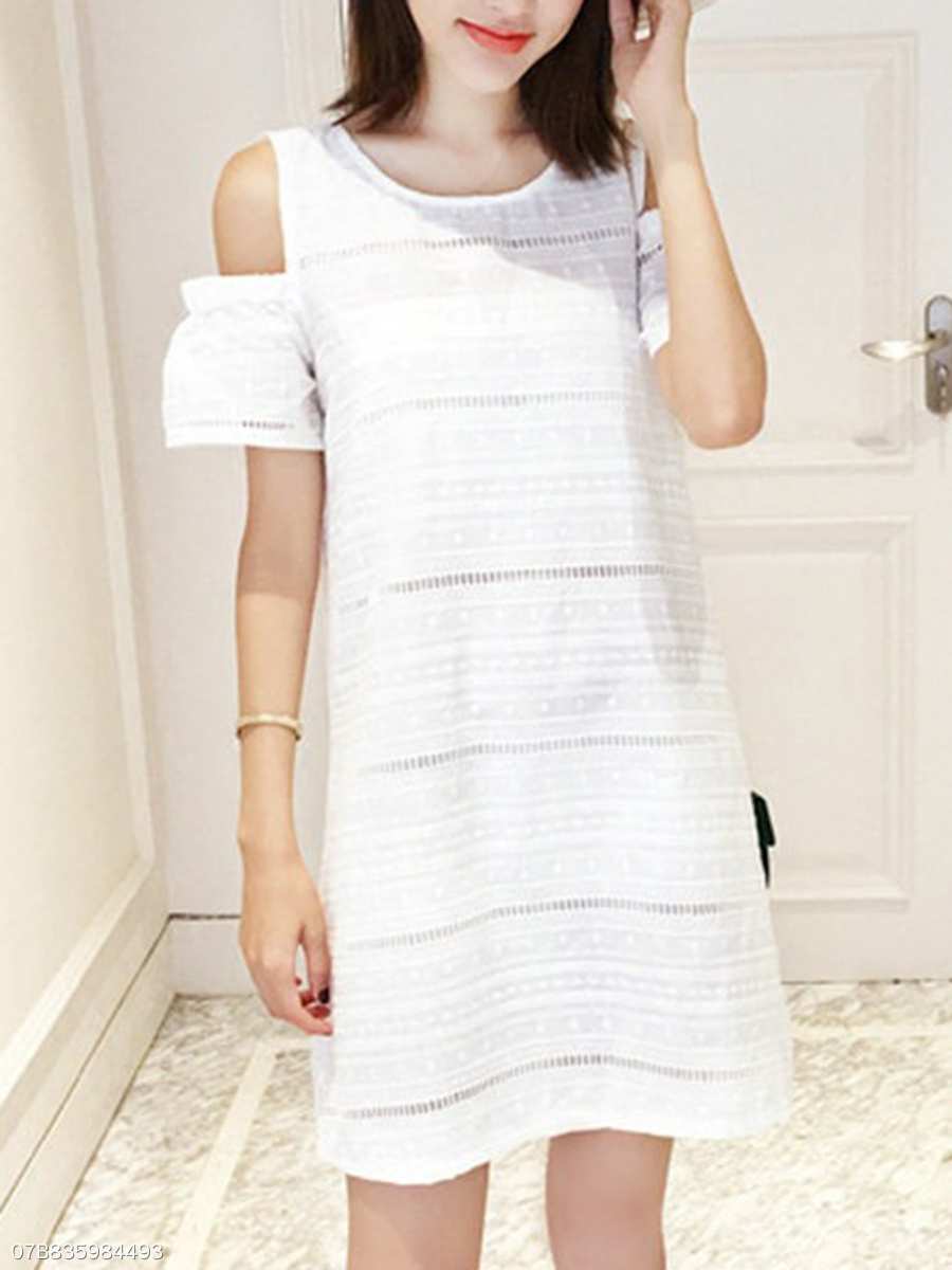 Polo Collar  Hollow Out Shift Dress