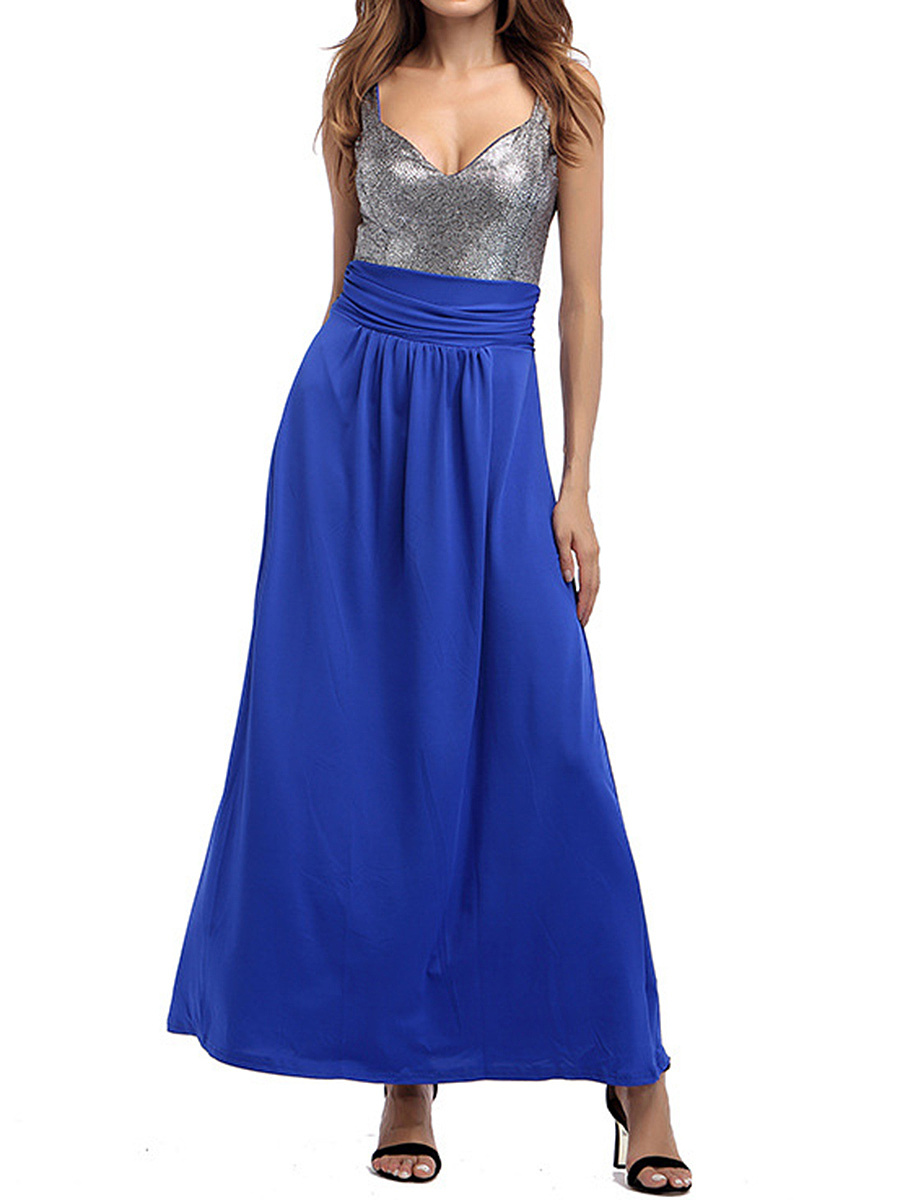 Sweet Heart  Belt Loops  Color Block Maxi Dress