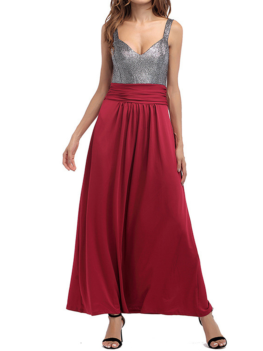 Sweet Heart  Belt Loops  Color Block Maxi Dress