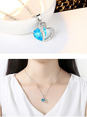 Faux Crystal Rhinestone Heart Necklace