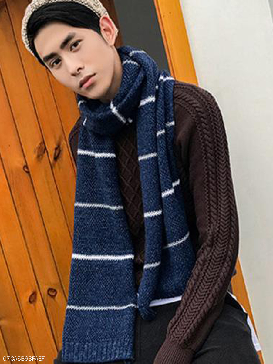 Warmer Plain Soft Knitted Striped Scarves