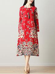 Round-Neck-Belt-Printed-CottonLinen-Maxi-Dress