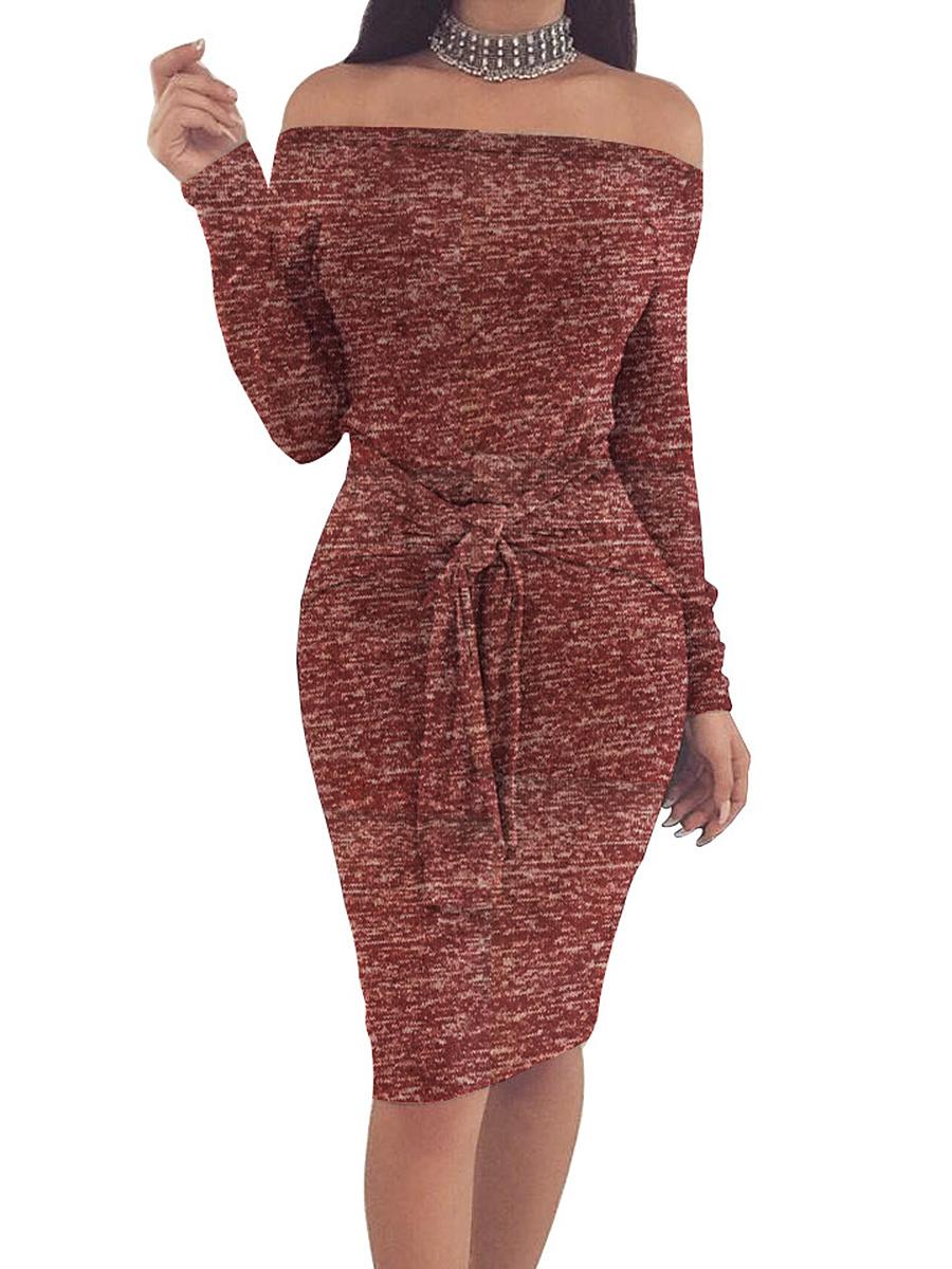 Off Shoulder  Plain  Blend Bodycon Dress
