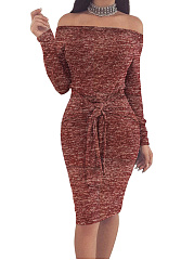 Off Shoulder  Plain  Blend Bodycon Dress