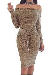 Off-Shoulder-Plain-Blend-Bodycon-Dress