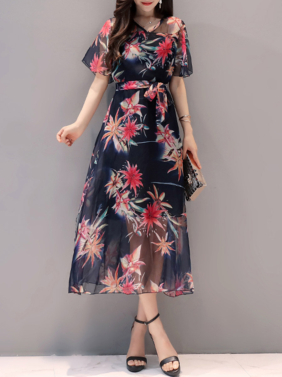 V-Neck Hollow Out Floral Printed Chiffon Skater Dress