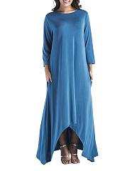 Round-Neck-Asymmetric-Hem-Plain-Polyester-Maxi-Dress