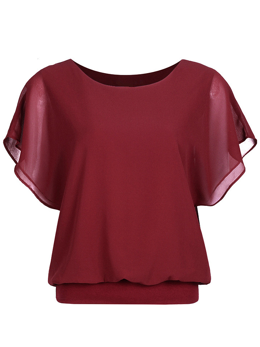 Round Neck Chiffon Plain Short Sleeve T-Shirt