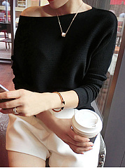 Boat Neck  Plain  Batwing Sleeve  Long Sleeve Sweaters Pullover