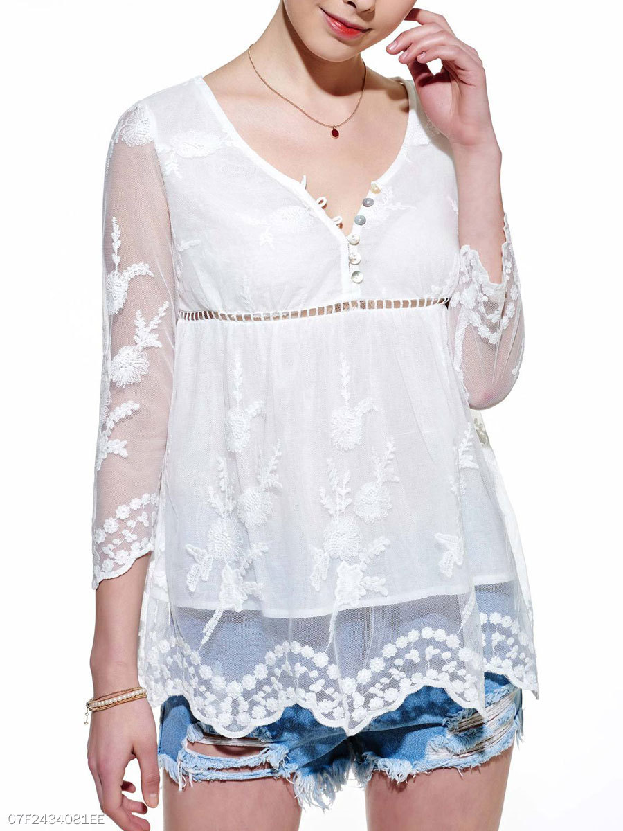 Summer  Polyester  Women  Patchwork  Plain  Three-Quarter Sleeve Blouses