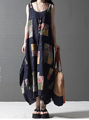 Round Neck  Printed  CottonLinen Maxi Dress