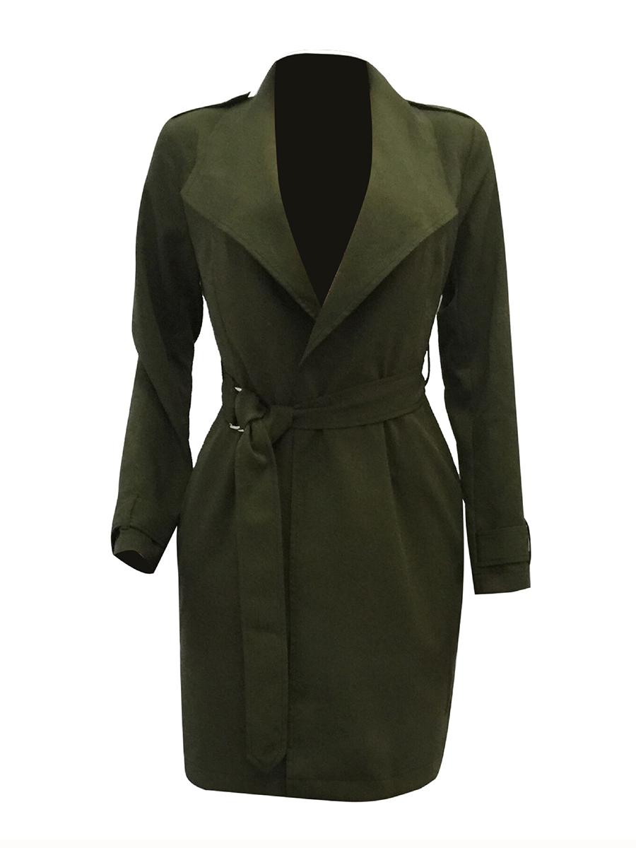 plain basic autumn spring elegant Belt  Plain  Long Sleeve Trench Coats
