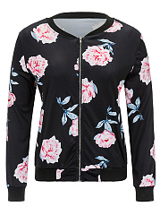 Casual-Floral-Printed-Band-Collar-Bomber-Jacket