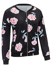 Casual Floral Printed Band Collar Bomber Jacket