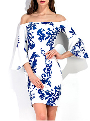 Off-Shoulder-Bell-Sleeve-Blue-And-White-Porcelain-Printed-Bodycon-Dress