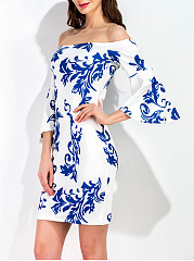 Off Shoulder Bell Sleeve Blue And White Porcelain Printed Bodycon Dress