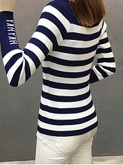 Round Neck  Color Block Letters Striped  Long Sleeve Sweaters Pullover