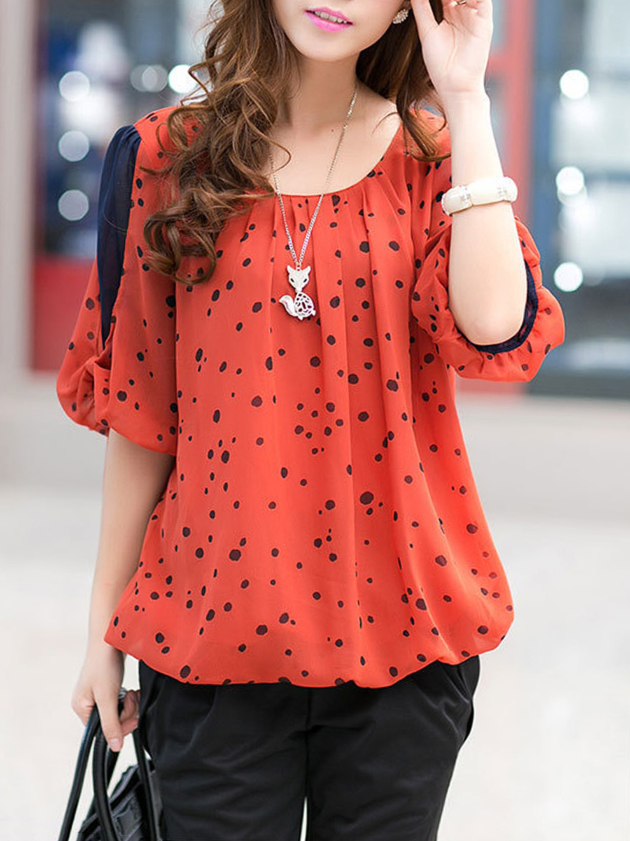 Round Neck Spotty Puff Sleeve Blouse