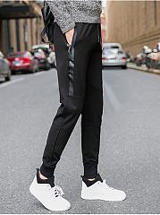 Plain-Patchwork-Slim-Leg-Mens-Casual-Pants