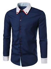 Color-Block-Button-Down-Collar-Men-Shirts