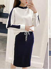 Round Neck  Drawstring  Color Block Two-Piece  Shift Dress
