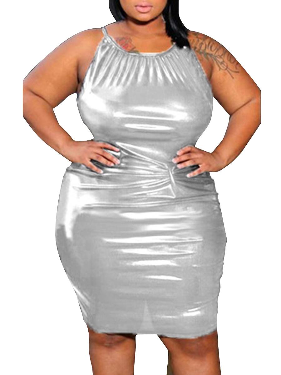 Spaghetti Strap Plain Plus Size Bodycon Dresses Fashionmia