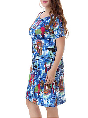 Round Neck  Abstract Print Plus Size Bodycon Dresses