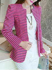 Slit Pocket  Striped  Long Sleeve Blazers