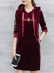 Hooded-Contrast-Trim-Letters-Velvet-Shift-Dress