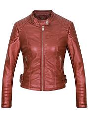 Band-Collar-Zips-PU-Leather-Plain-Biker-Jacket