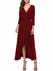 Surplice-Elastic-Waist-Plain-Polyester-Maxi-Dress