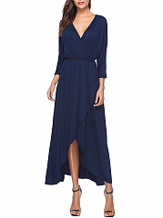 Surplice  Elastic Waist  Plain  Polyester Maxi Dress