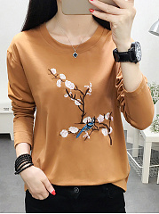 Autumn Spring  Polyester  Women  Round Neck  Embroidery Long Sleeve T-Shirts