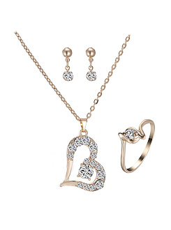 New Alloy Jewelry Set Rhinestone Jewelry Three-Piece
