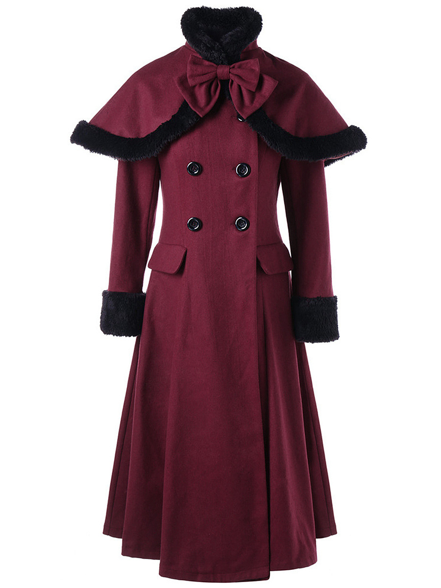 Double Breasted Lace-Up Woolen Coat With Bowknot Cape