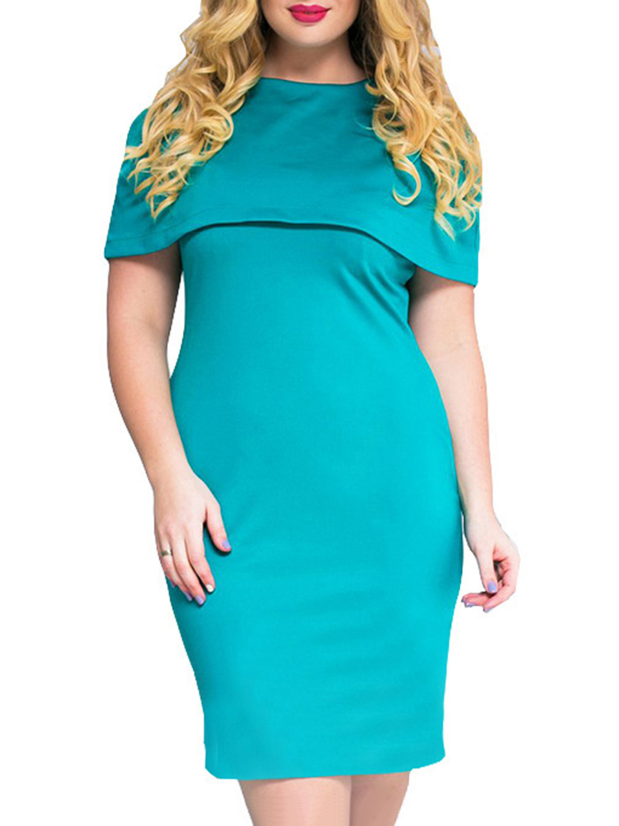 Flounce  Plain Plus Size Bodycon Dresses