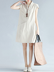 Split-Neck-Plain-Pocket-Summer-Shift-Dress