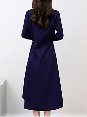 Band Collar  Drawstring  Plain  Polyester Maxi Dress