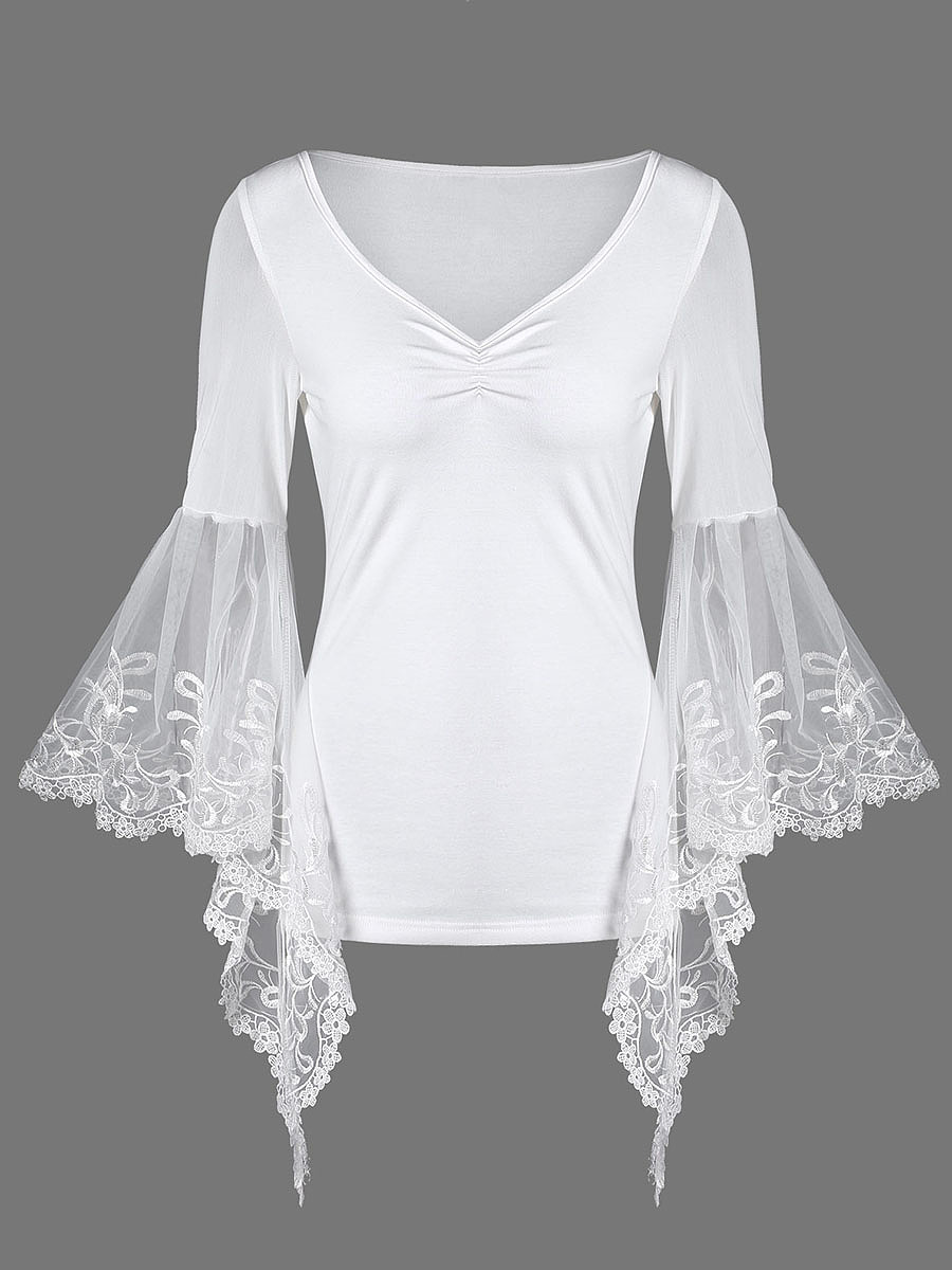 Deep V-Neck  See-Through  Plain  Bell Sleeve T-Shirt