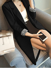 Lapel Solid Slim Pocket Blazer