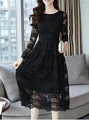 Round-Neck-Hollow-Out-Plain-Lace-Maxi-Dress