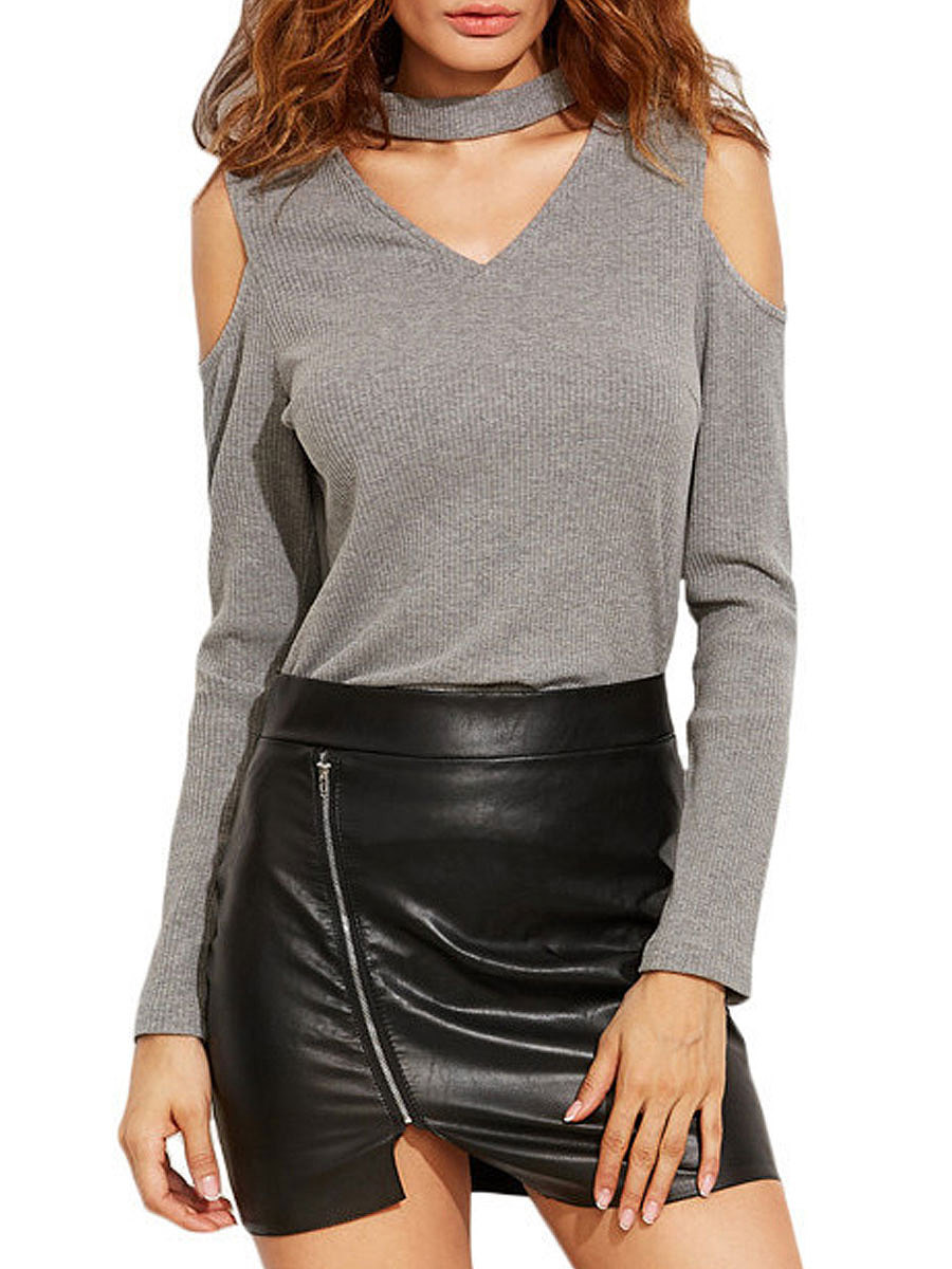 V-Neck  Hollow Out Long Sleeve T-Shirts